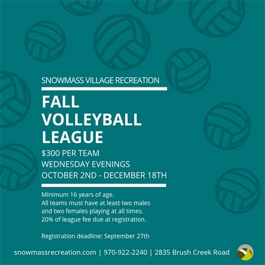 Snowmass Village Fall Volleyball League Registration